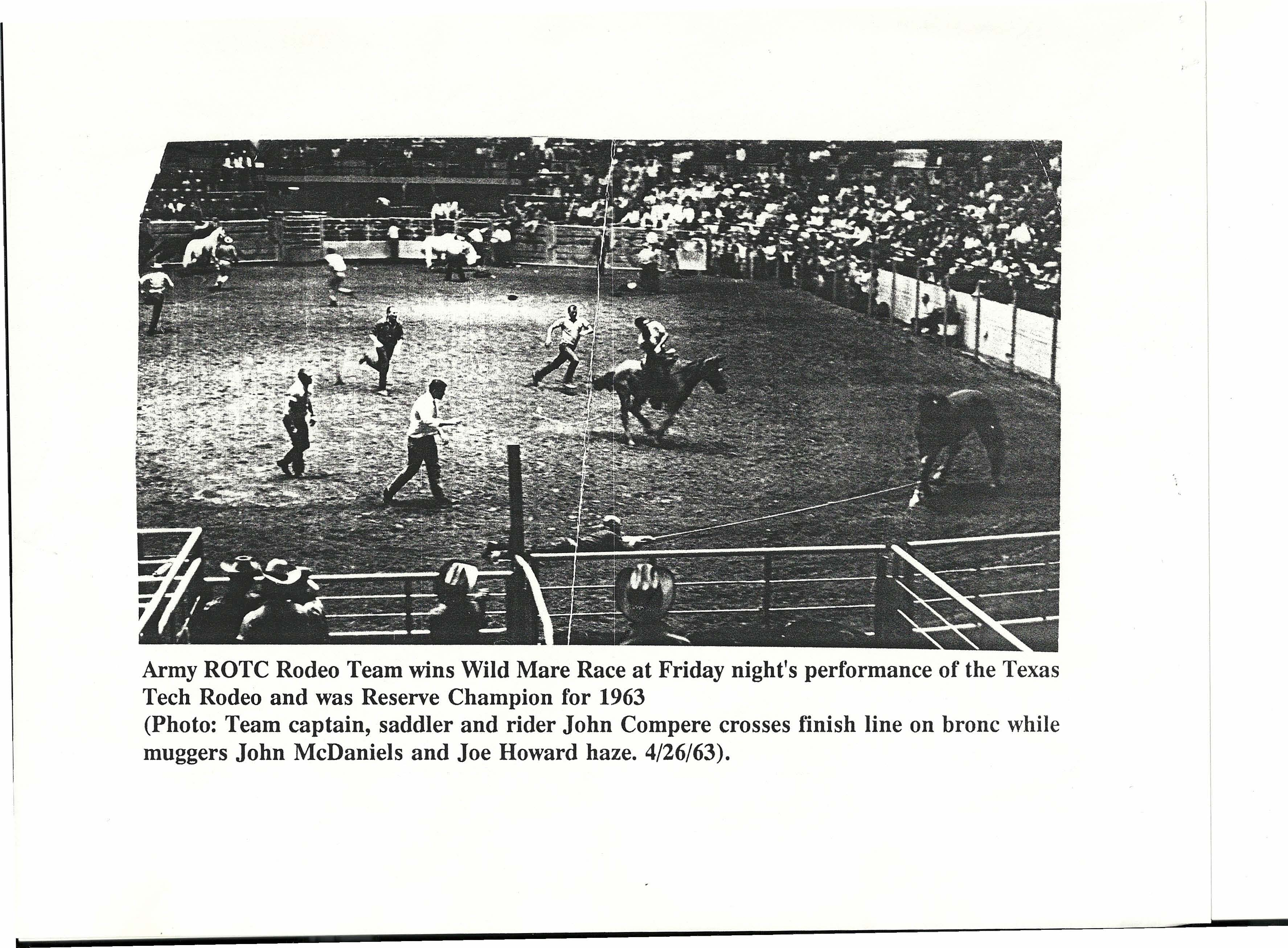 Compere competing in 1963 Texas Tech Rodeo