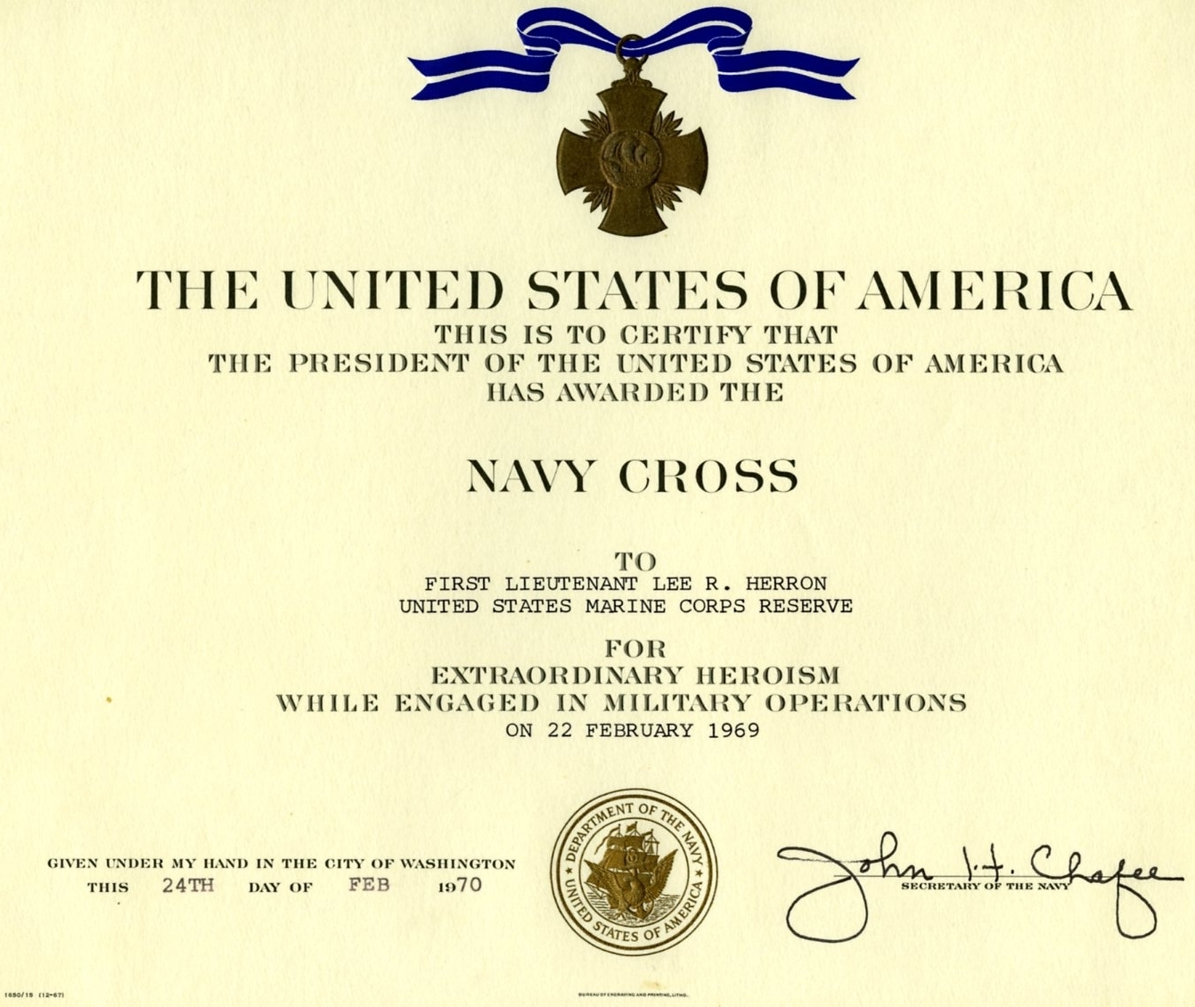 Lee Roy Herron's Navy Cross certificate