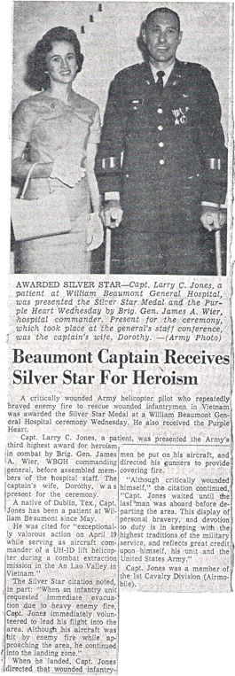 Article about Jones' Silver Star