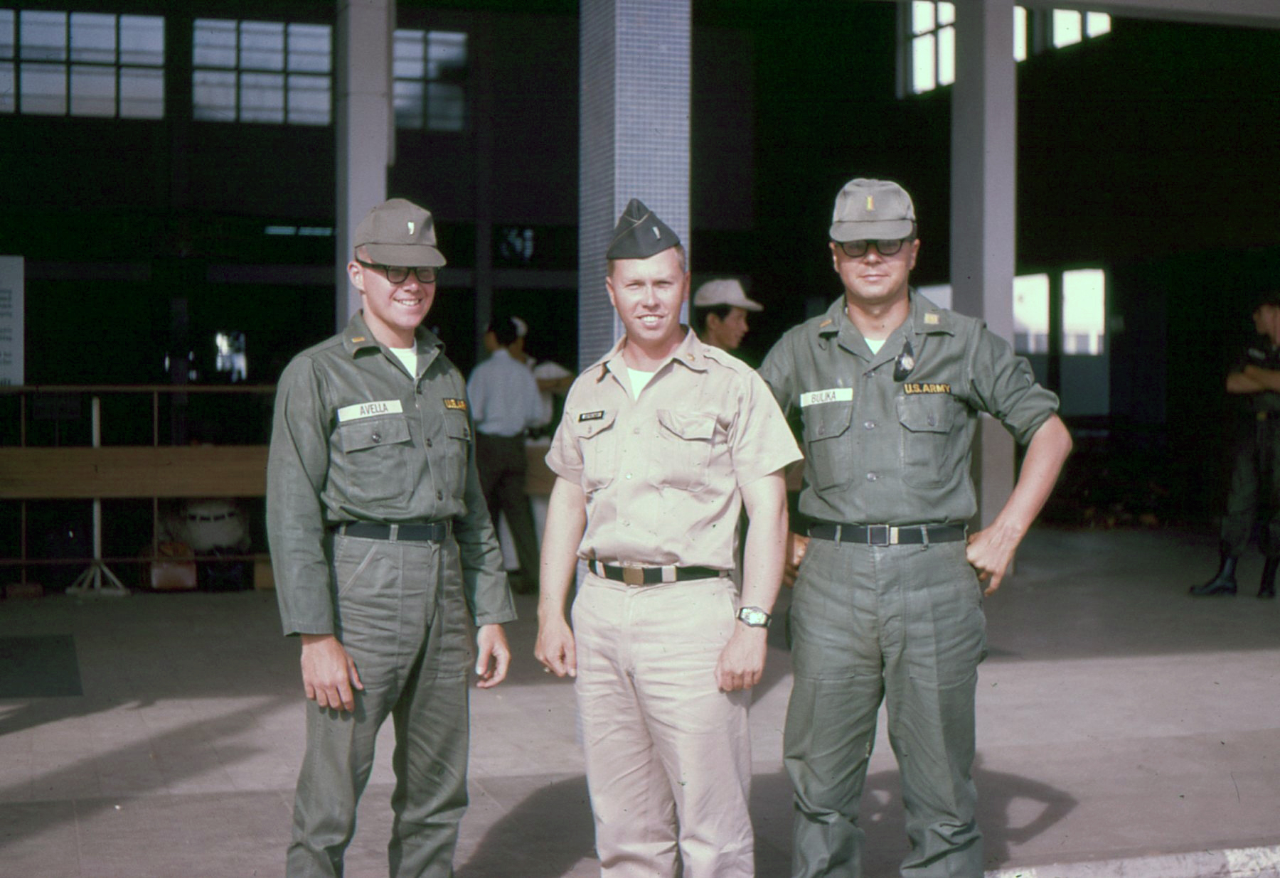 Jay Wiginton (center) at Tan Son Nhut Airport departing from Vietnam