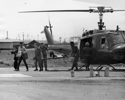 Unloading Patients From Medevac Helicopter At 91st Evacuation Hospital Emergency Room James Evans Collection VA042547