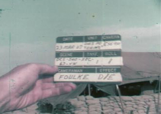 Screenshot from corrected film, William Foulke's clacker with his name on it.
