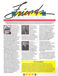 First page of the Friends of the Vietnam Center Newsletter, Vol. 1, Issue 1.