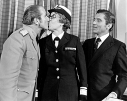 Admiral Zumwalt congratulates Rear Admiral Alene Duerk on her promotion