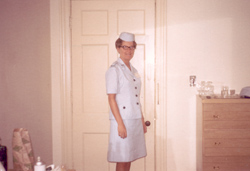 This was taken at the hotel in D.C. I'm [Janet Olson Fortune] wearing my dress uniform. It was the first day we wore the uniform.