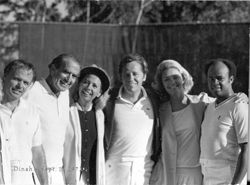 Tennis at Dinah Shores Los Angeles Home, 17 September 1972. Group includes Dinah, Wendell Niles, Barbara Marks and Lieutenant Commander Bill Norman.: Admiral Elmo R. Zumwalt, Jr. Collection [VA018612]