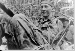 Fred White on a mission out of Phan Thiet Nam 69-70 3rd platoon team 3-3 and 3-6 Number of missions (32) never shot or wounded and that goes fot the rest of my team. Thank God!: Daniel Pope Collection [VA030358]