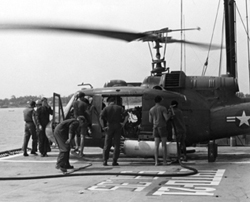 Seawolves HA(L)-3 preparing a Seawolf Huey helicopter for flight. JATO-21.: HA(L)-3 Seawolf Association Collection [VA054020]