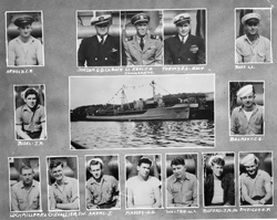 Top row (left to right): C.R. Arnold, Jordan G.D.C.H. Bosn, Lt. Keel C.H. commanding, Persky, E.A. Mach, and L.L Rust. Middle Row: J.R. Bisel, ship, C.C. Belmont. Bottom Row: R.V. Loch Miller, T.W. Chevallier, J. Akers, H.O. Massey, W.S. Walter, J.M. Buford Jr., H.P. Swieger: Mike & Gloria Brunetti Collection [VA054126]