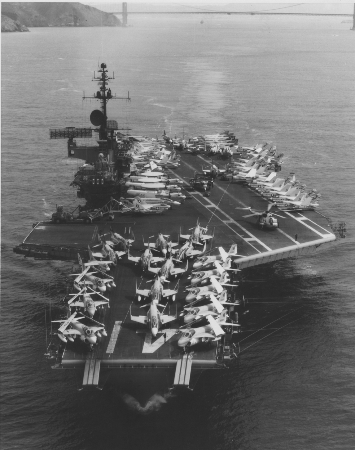 Aircraft carrier: F-4 Phantom, A-7 Corsair II, A-6 Intruder, and others.