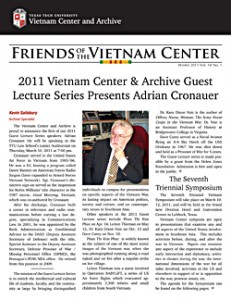 Cover page of the Winter 2011 Issue of the Friends of the Vietnam Center Newsletter